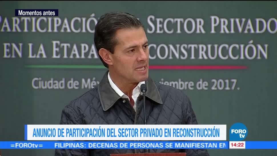 Anuncio de participación del sector privado en reconstrucción por sismos