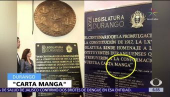 Diputados de Durango rinden homenaje con placa de 'Carta Manga'