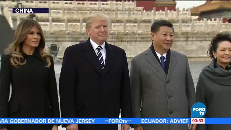 Trump llega a China para su primera visita de Estado