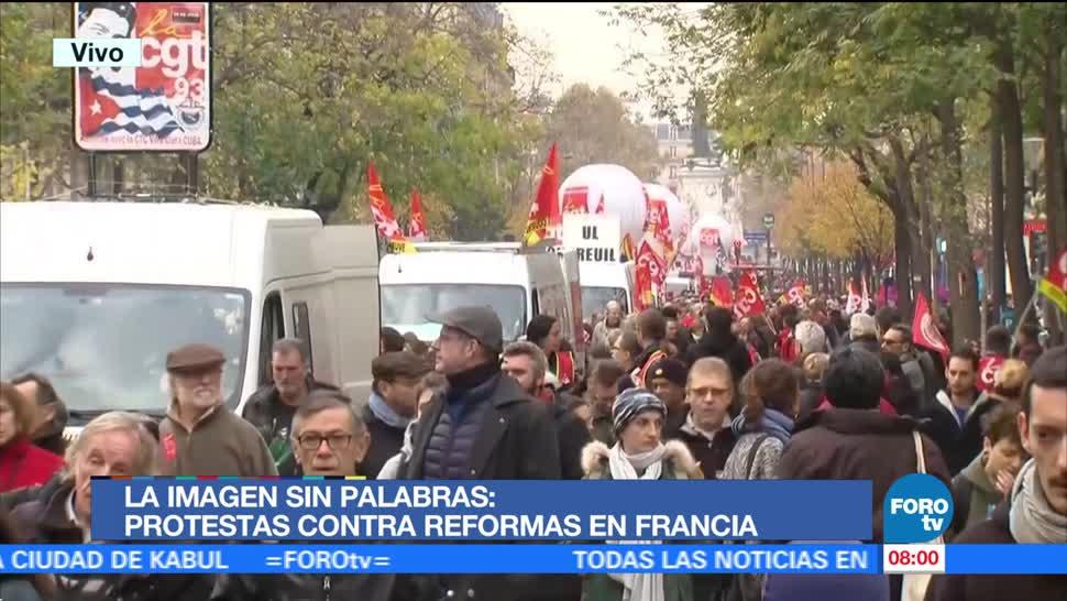 Protestas contra reformas en Francia