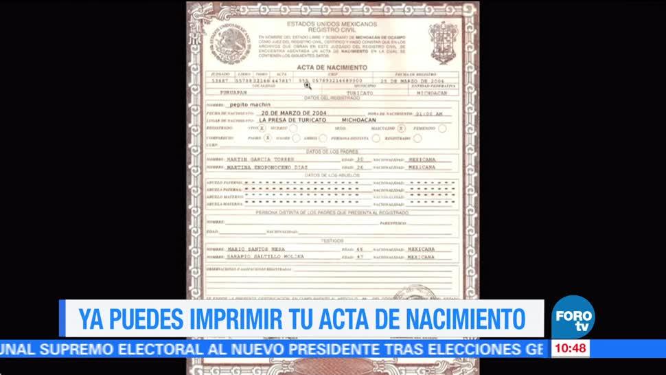 Ya se puede imprimir el acta de nacimiento en casa | Noticieros Televisa