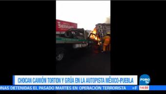 Camión Torton Grúa Chocan Autopista México Puebla