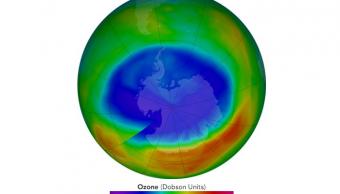 Imagen de la capa de ozono de la Tierra difundida por NASA