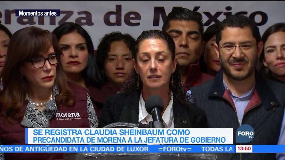 Sheinbaum se registra como precandidata de Morena para Jefatura de Gobierno