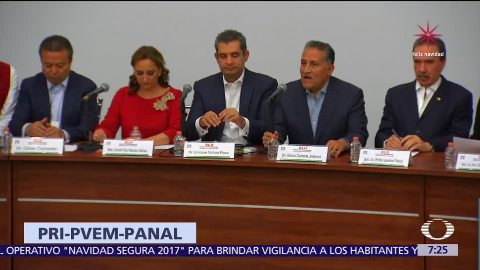 PRI acuerda ir en coalición con Partido Verde y Panal para 2018
