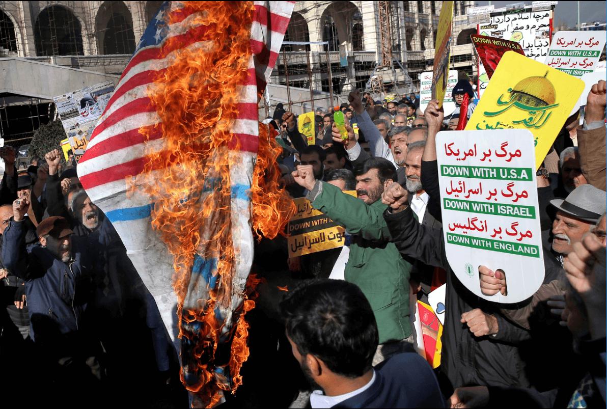 En Teherán, Irán, también hubo manifestaciones contra Trump