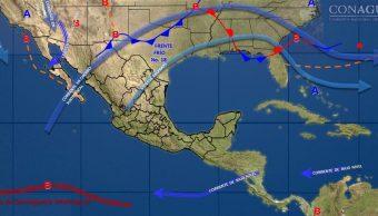 Frente frío 18 mantendrá bajas temperaturas en 18 regiones de México