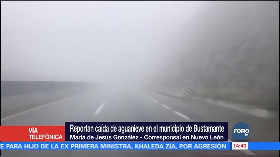 Reportan caída de agua nieve en Nuevo León