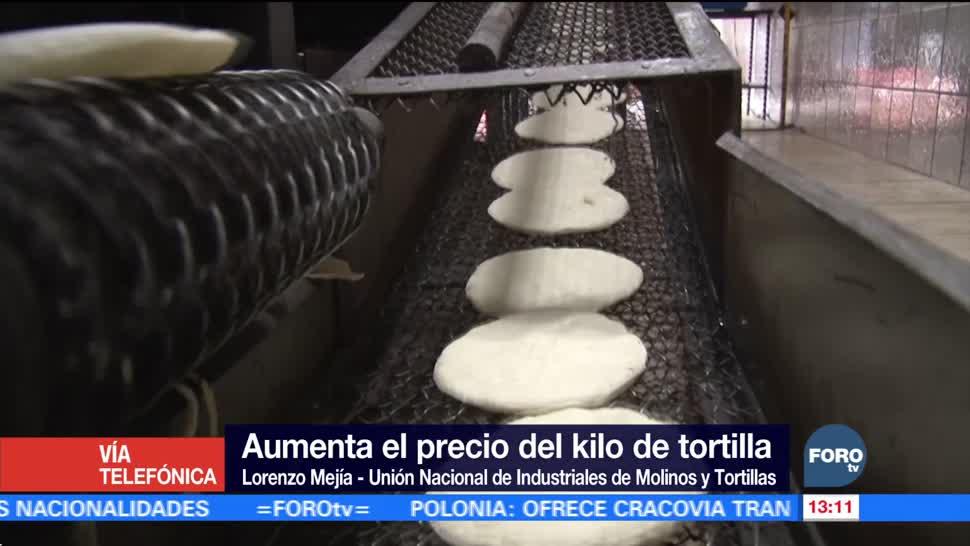 Aumenta el precio de la tortilla en el país