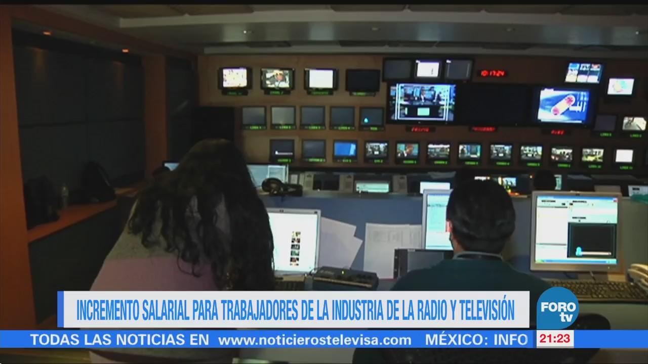 Incremento salarial para trabajadores de la Industria de la Radio y Televisión