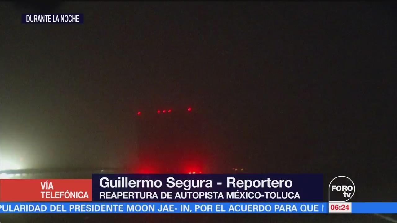 Reabren la autopista México-Toluca tras afectación por granizo
