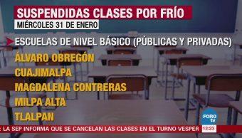 Suspenden clases del turno vespertino en 5 delegaciones CDMX