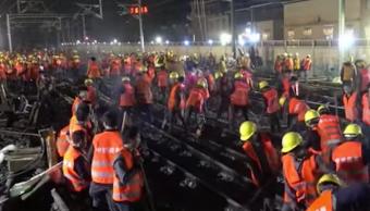 Reconstruyen estación del tren en sólo 9 horas