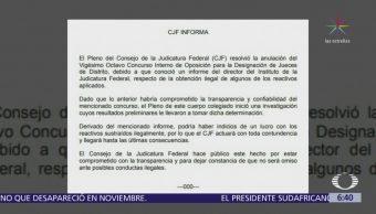 CJF anula concurso interno de oposición para designar jueces de distrito