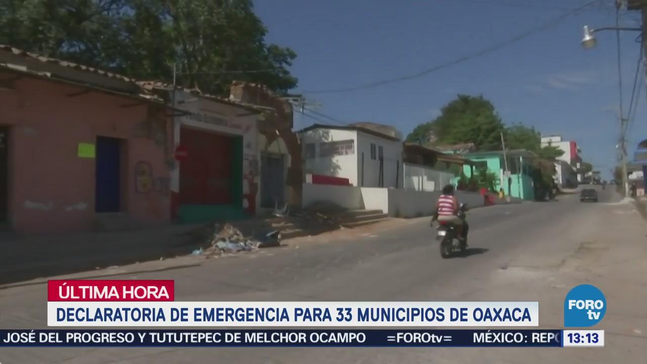 Declaratoria Emergencia 33 Municipios Oaxaca Sismo