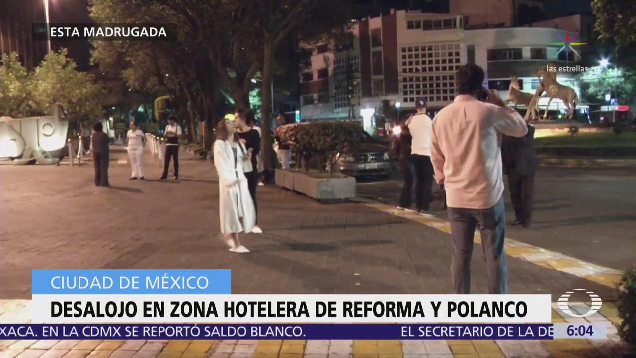 Desalojo en zona hotelera de Reforma y Polanco tras sismo