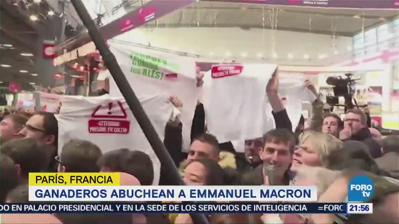 Ganaderos abuchean a Emmanuel MacronGanaderos abuchean a Emmanuel Macron