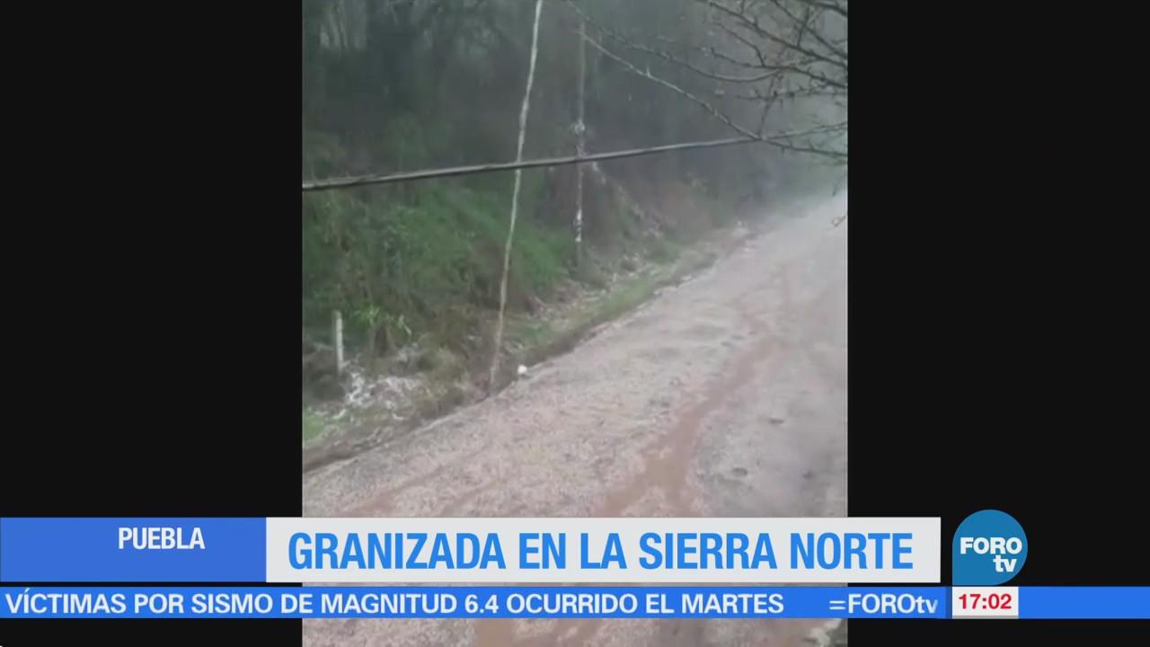 Granizada en la sierra norte de Puebla