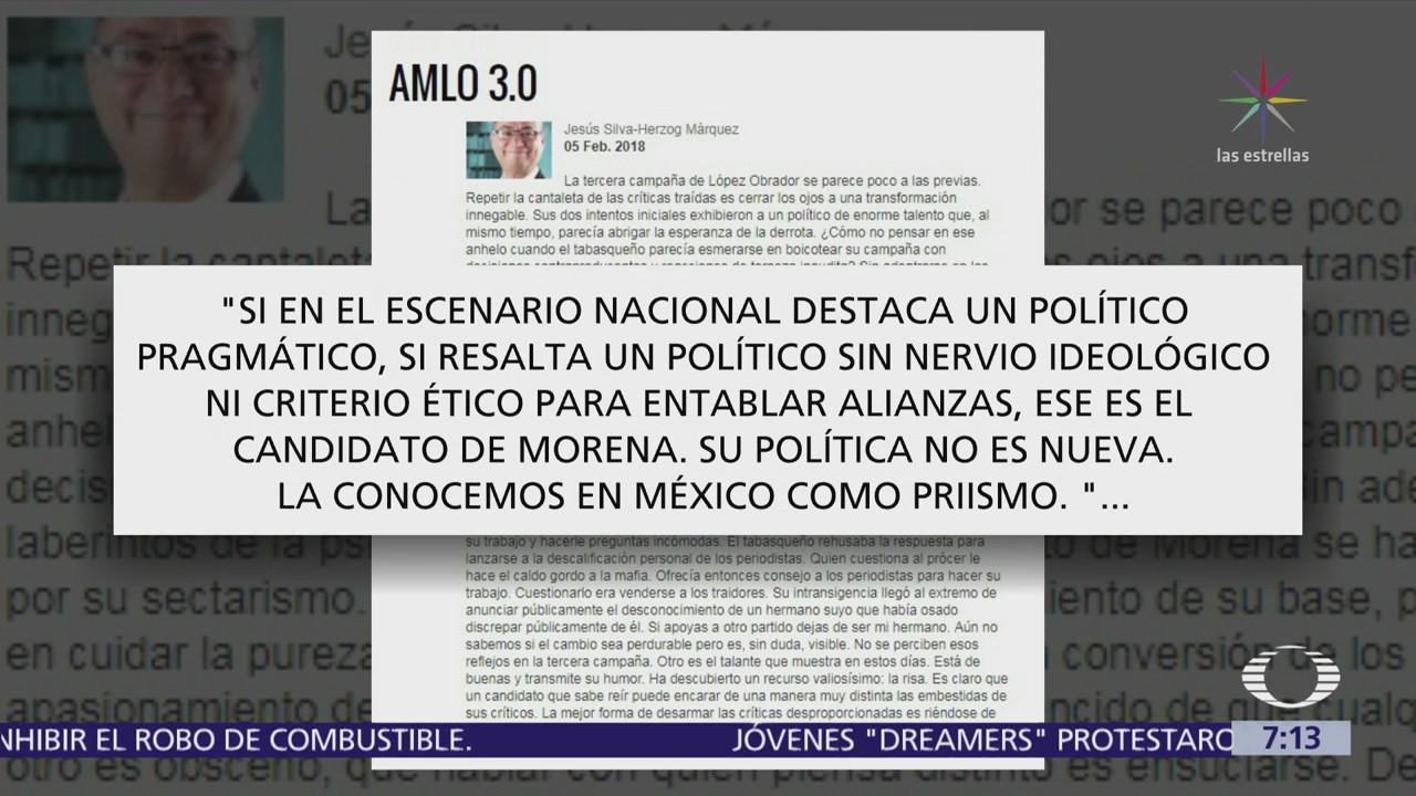 Jesús Silva Herzog cuestiona alianzas de AMLO, dice que lo caracteriza el oportunismo