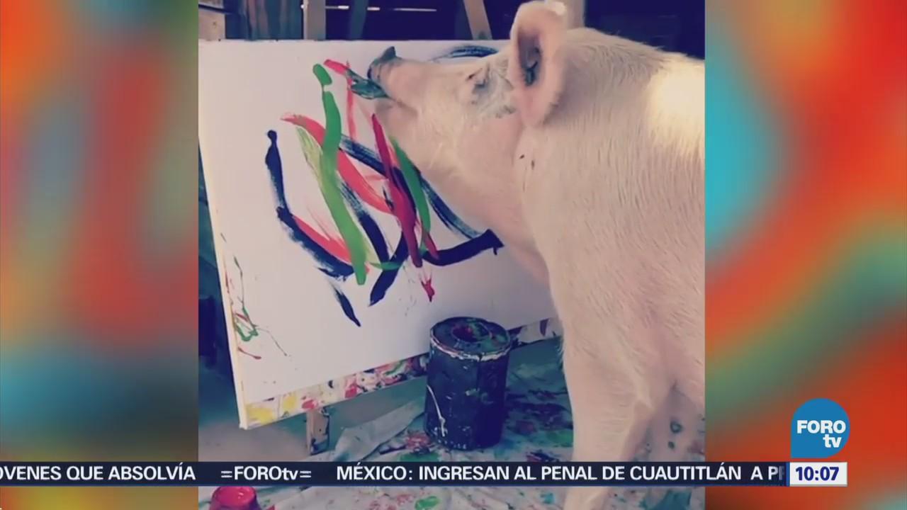 Extra Extra: Cerdita pintora vende sus cuadros