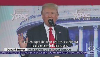 Trump compara a migrantes con serpientes traicioneras