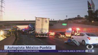 Accidente en la México-Puebla deja dos lesionados