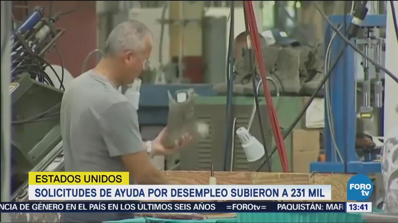 Aumentan solicitudes de ayuda por desempleo en Estados Unidos
