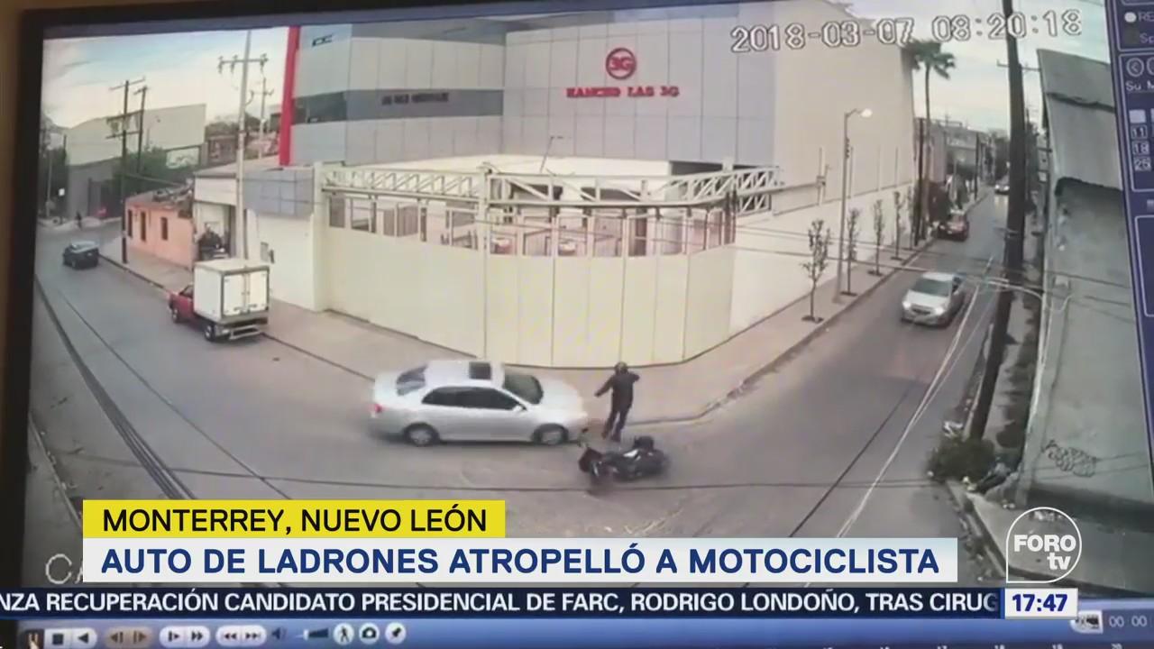 Durante persecución atropellan a motociclista en Monterrey NL