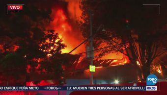 Incendio consume depósito de telas en la colonia Anahuac