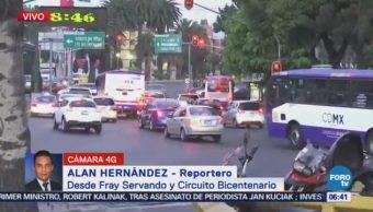 Fray Servando y Circuito Bicentenario presenta carga vehicular, CDMX