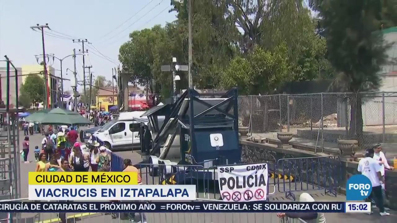 Implementan operativo por viacrucis en Iztapalapa