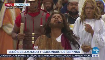 Jesús es azotado y coronado de espinas en Iztapalapa