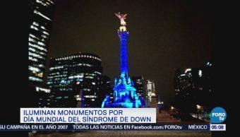 Monumentos de la CDMX se iluminan por el Día Internacional del Síndrome de Down