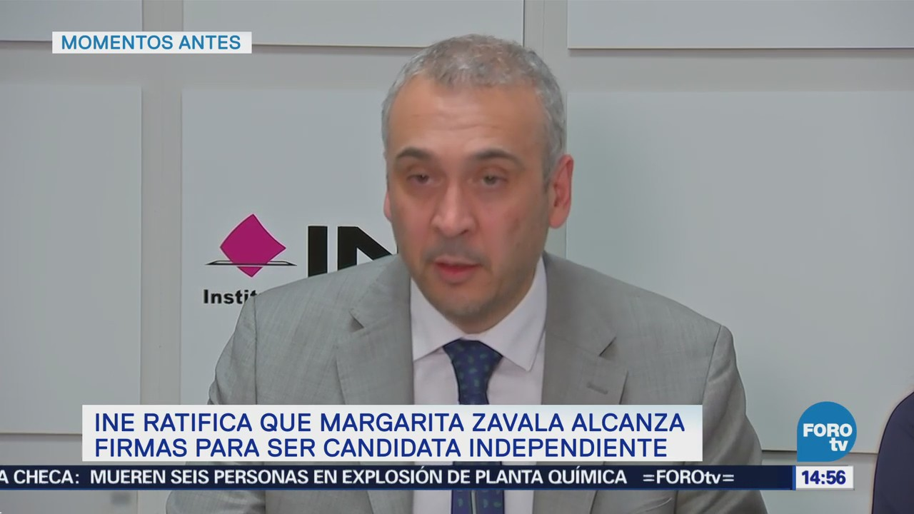 INE confirma candidatura independiente de Margarita Zavala