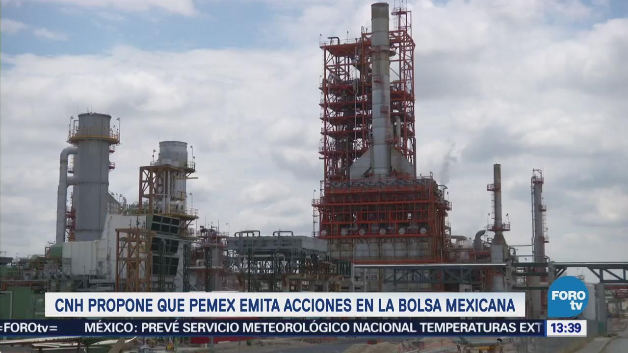 Comisión Nacional de Hidrocarburos sugiere colocar a Pemex en la BMV