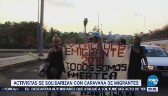 Activistas se solidarizan con caravana de migrantes