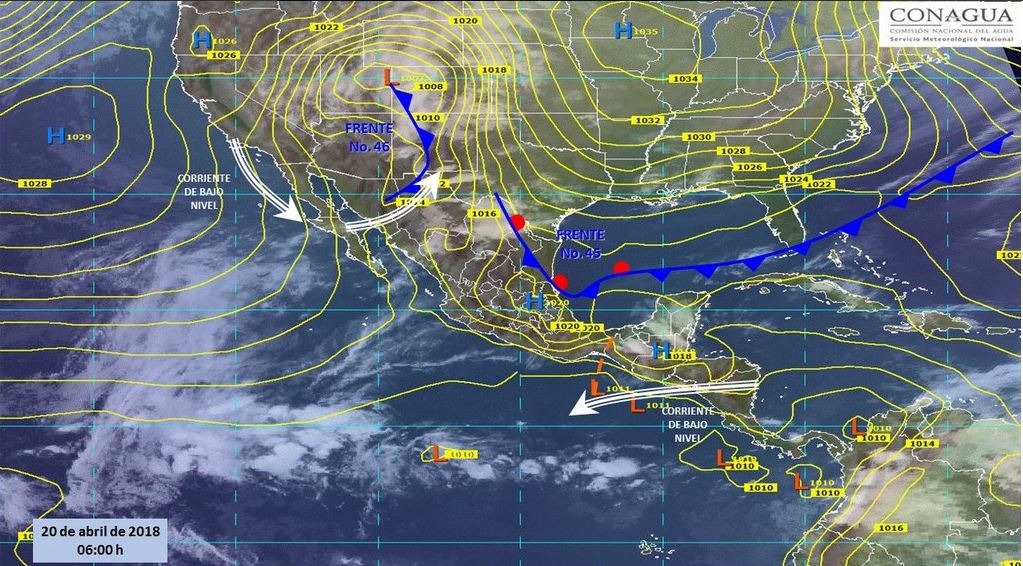 Mapa con el pronóstico del clima para este 20 de abril. (SMN)
