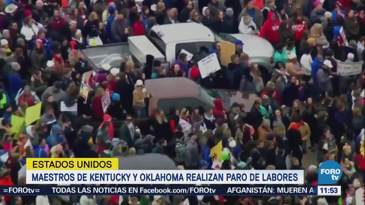 Protestan maestros en Oklahoma