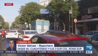 Se registra poca afluencia de automovilistas en la colonia Roma CDMX