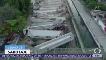 Denuncian sabotaje tren que descarriló en Veracruz