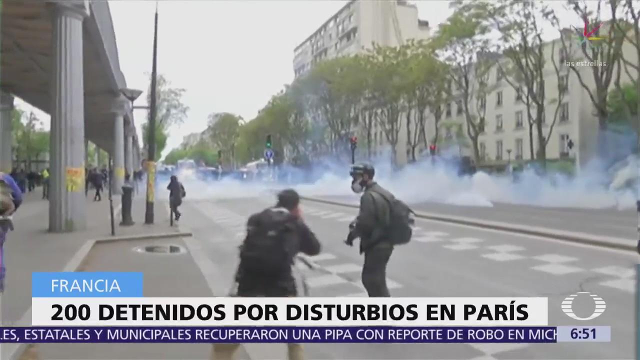 Detienen a 200 personas por disturbios en Francia, durante Día del Trabajo