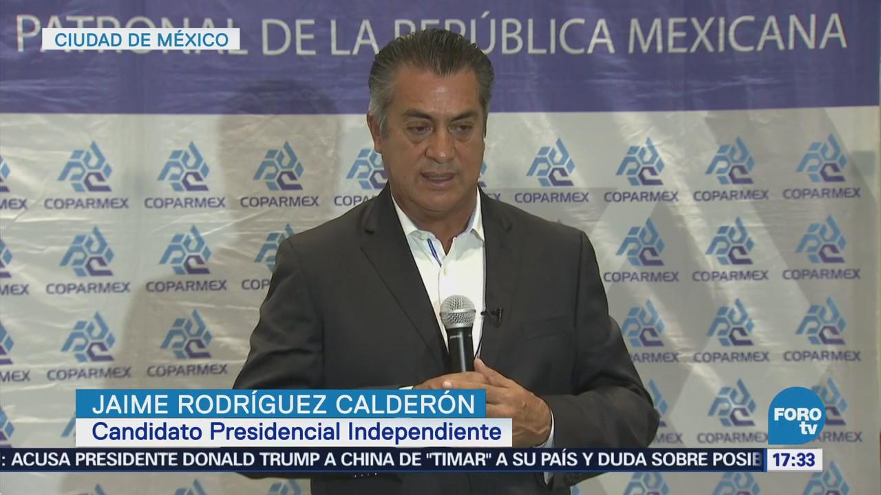 Jaime Rodríguez dice que recibe apoyo de empresarios
