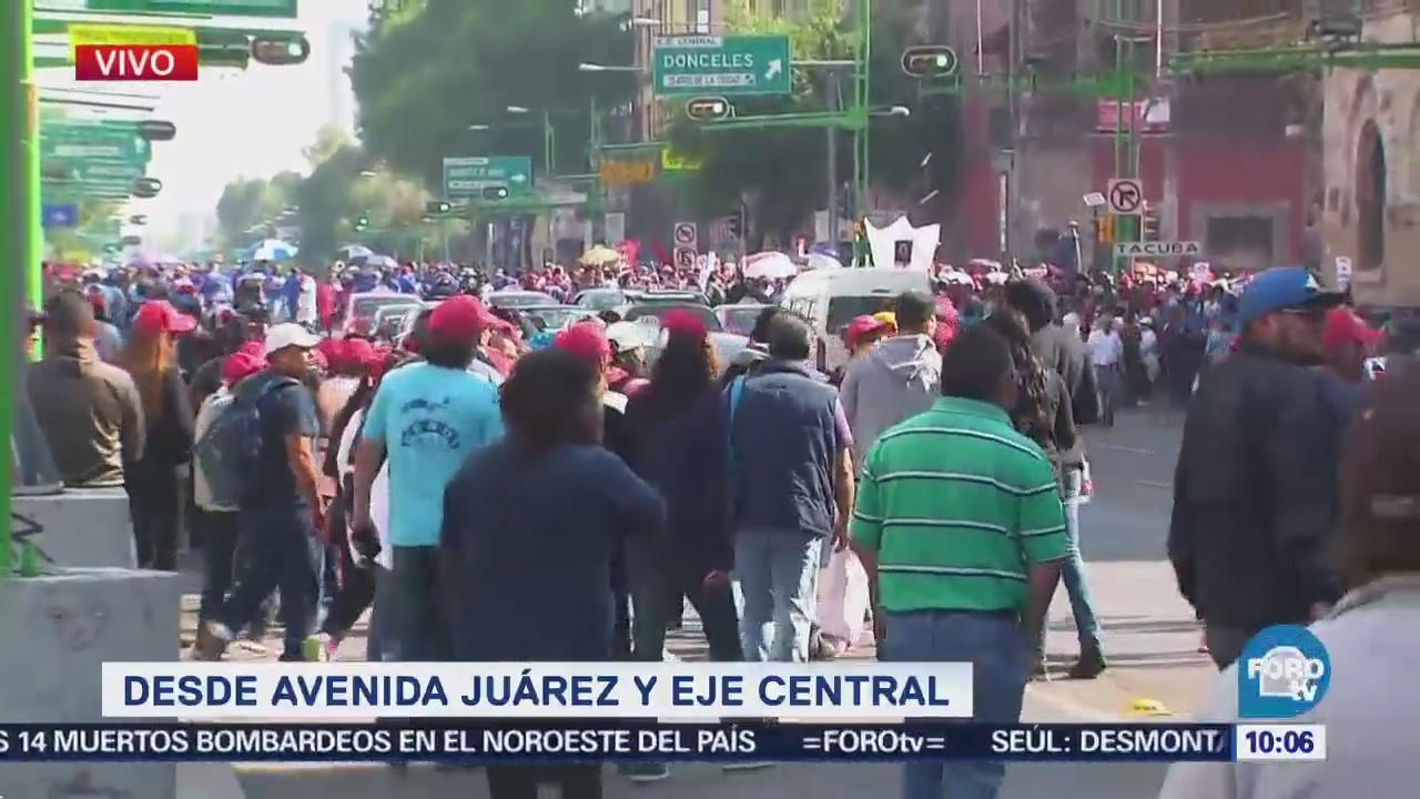 Manifestaciones se congregan en Avenida Juárez y Eje Central, CDMX