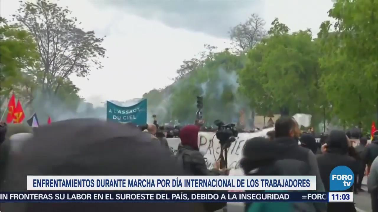 Policía francesa utiliza cañones de agua para dispersar a manifestantes con motivo del 1 de mayo