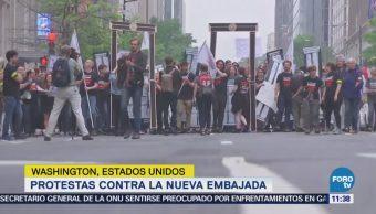 Protestan en Washington contra traslado de embajada de EU a Jerusalén