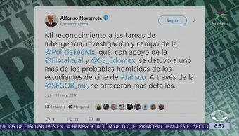 Segob anuncia detención de un probable homicida de los estudiantes de cine
