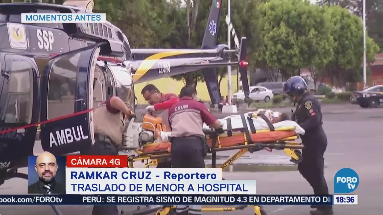 Trasladan Menor Herido Helicóptero SSPCDMX CDMX