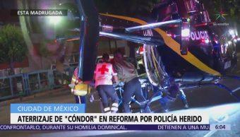 Trasladan en Cóndor a oficial herido de bala en la CDMX