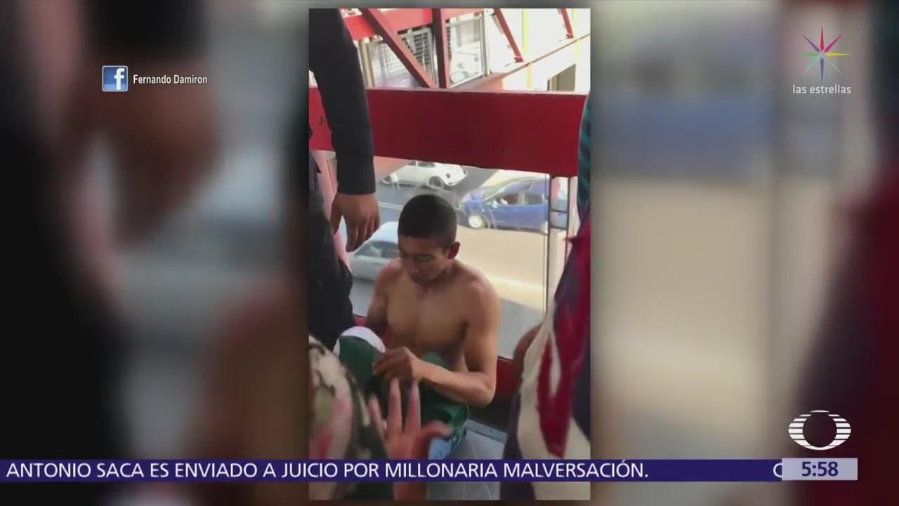 Usuarios del Metro golpean a asaltante en la estación Bosque de Aragón