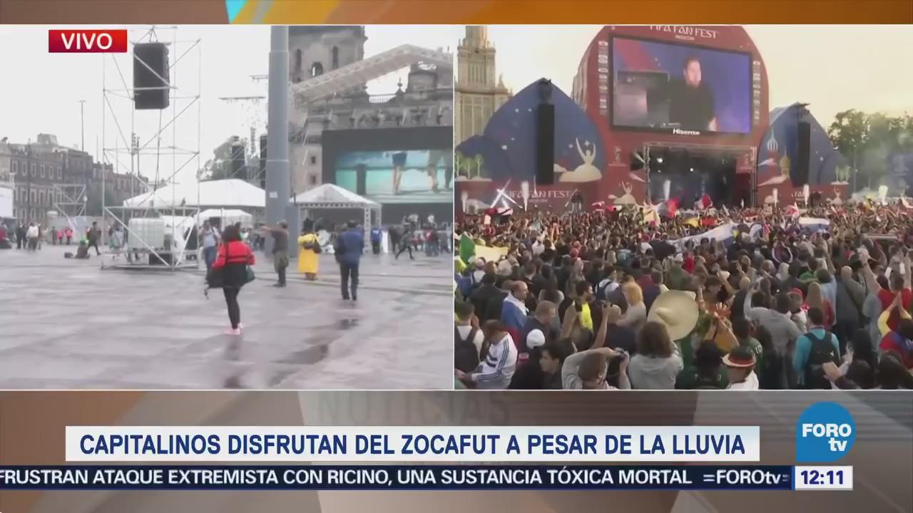 Capitalinos disfrutan del 'Zocafut' a pesar de la lluvia